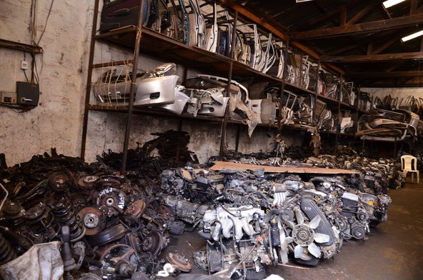 Car parts at the BMW recycling centre