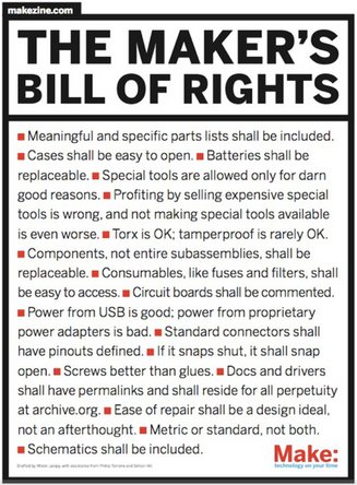 The maker's bill of rights from Zero to Maker