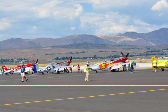 Airplanes taking off at the Reno Air Races