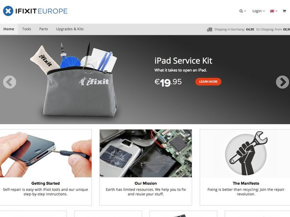iFixit Europe home page