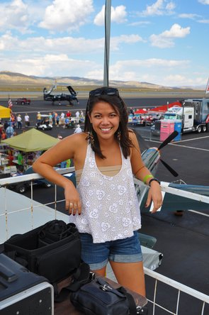 Cait Emma looking at airplanes at the Reno Air Races