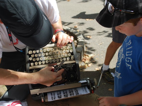 Fixers Collective does a typewriter repair at New York Maker Faire