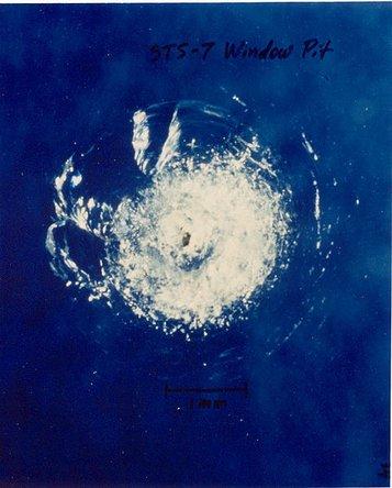 NASA image of space debris impact