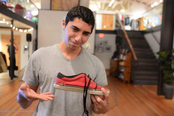 Repaired shoe at Patagonia Worn Wear