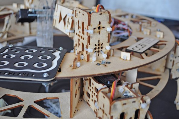 Laser-cut structure at Maker Faire