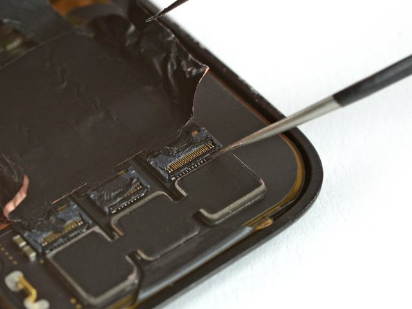 Use one arm of a pair of tweezers to carfully open the three ZIF connectors on the rear side of the screen.