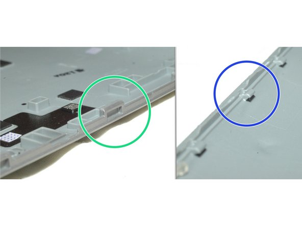 Image 3/3: Note on the top and bottom side of device, the noses protrude from the display side into the back cover...