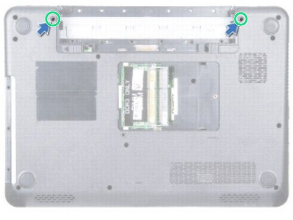 Replace the two screws that secure the display assembly to the computer base.