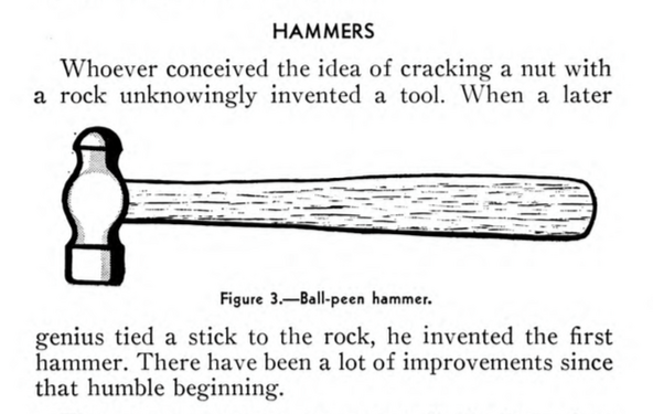 Hammers entry in an old naval tool manual