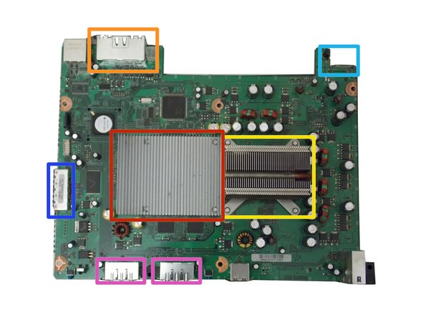This board has advanced cooling for the Graphics Processor Unit (GPU). This is the true mothership of your Xbox 360.
