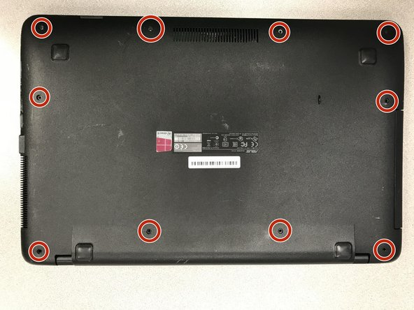 Turn the laptop upside down and locate the ten screws that hold the plate cover.