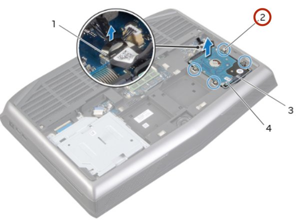 Loosen the captive screws that secure the hard-drive assembly to the computer base.