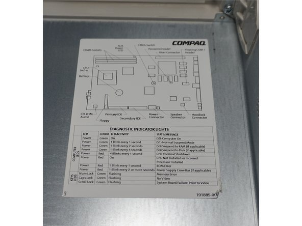 A diagram of the motherboard and common diagnostic codes can be found on the interior of the chassis cover.