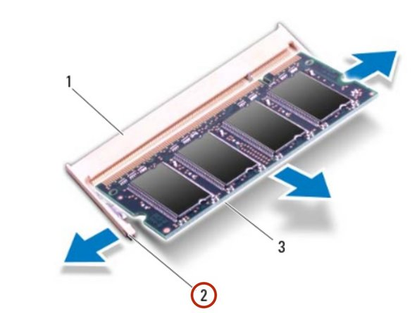CAUTION: To prevent damage to the memory-module connector, do  not use tools to spread the memory module securing clips.