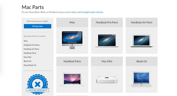 Mac parts page on the iFixit website parts store redesign