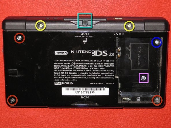 Remove the following 7 screws located on the lower case of the DS Lite: