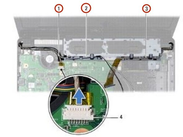 Route the Mini-Card antenna cables, camera cable, and display cable through the routing guides.