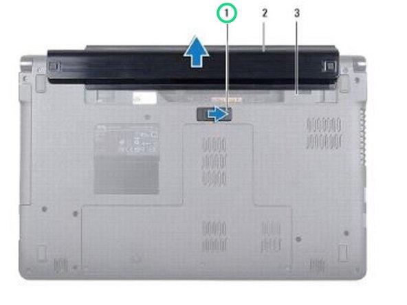 Deslice y haga clic en el pestillo de liberación de la batería.