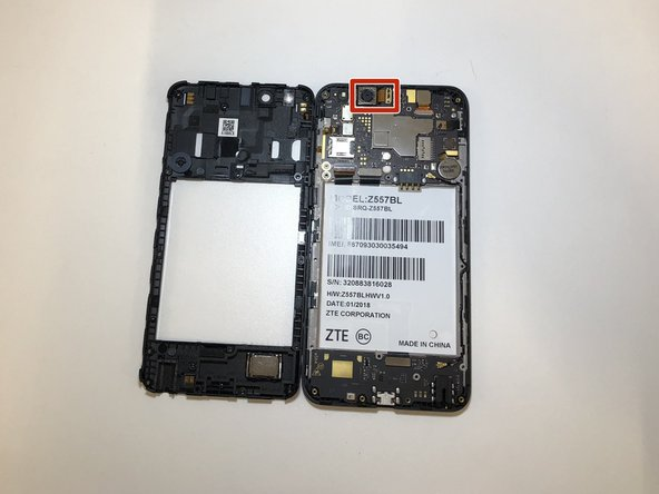 Once body is removed, back-facing camera is placed at the top left corner of device.