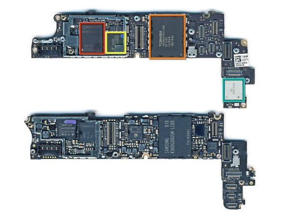 Image 1/1: The back side of the Verizon logic board (on top) contains: