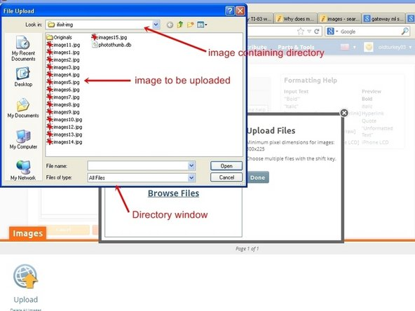 """When it is clicked on, it will access the users computer and list the directories. Choose the directory that contains the image to be imported. It is possible to select multiple images at once. Hold the """"Ctrl"""" key down and left click on individual image files allow for this."""