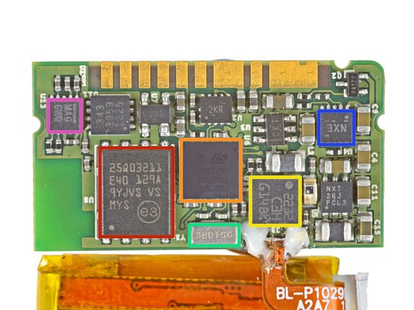 Image 1/1: The ICs of interest on the top side of the motherboard are as follows: