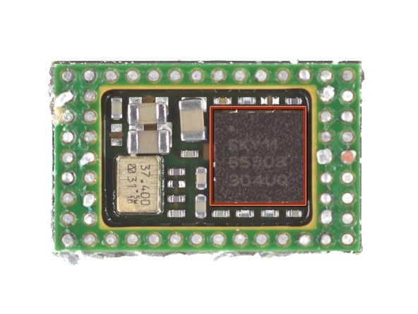 Reflowing the Broadcom module off the motherboard reveals a stow-away located beneath it: a Skyworks SKY85303-11 2.4 GHz, 256 QAM WLAN/Bluetooth® Front-End  Module.