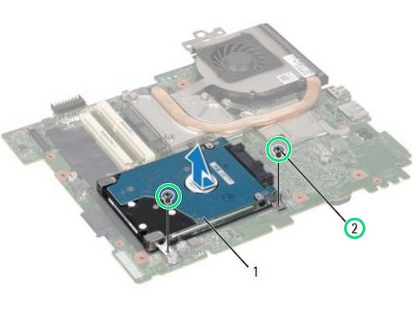 Replace the two screws that secure the hard-drive assembly to the system-board.