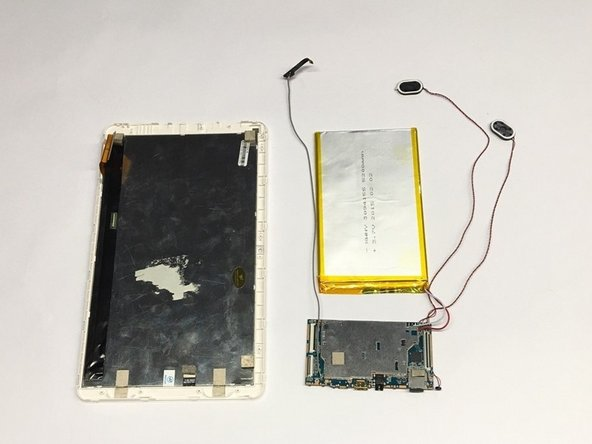 Completely remove the conjoined battery, speakers, and motherboard from the device.