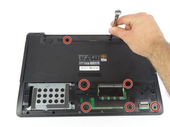 Use Tri-wing Y1 screwdriver to remove seven 4mm screws from battery area.