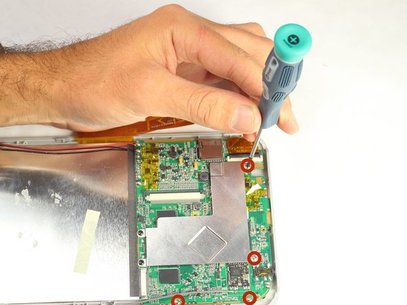 Remove four 4mm PH00 silver screws from the motherboard.