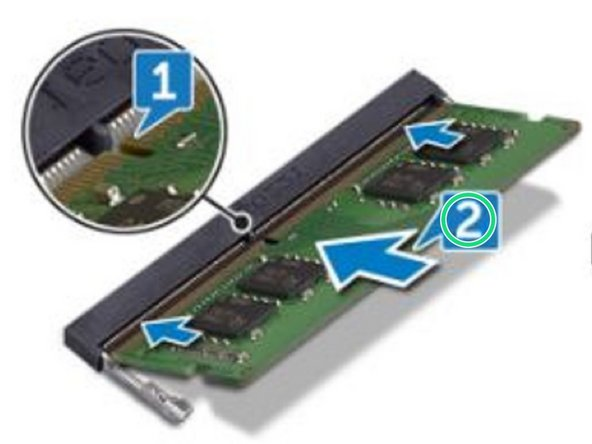 Slide the memory module firmly into the slot at an angle.