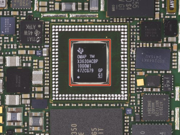 Layered underneath the Micron RAM we found a Texas Instruments X3630ACBP (OMAP3630) OMAP 3 Applications Processor.