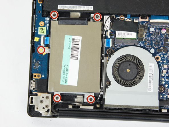 Using the JIS #0 Screwdriver, remove the five  3.0 mm screws that hold down the hard drive casing.