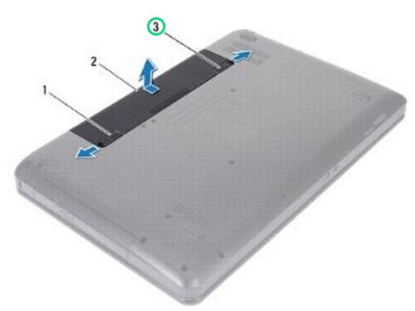 Slide the battery lock latch to the unlock position.