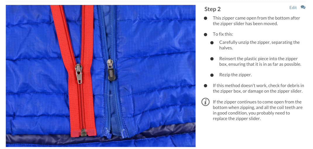 Fix your broken zipper problems ifixit to fix this zipper issue just wiggle the slider so that the two sides of the zipper separate and then insert the bottom tab all the way into the box ccuart Gallery