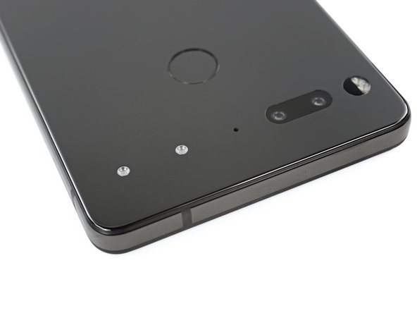 Around back, we find this phone's party trick—two power pins with built-in magnetic alignment. This is where the unessentials can latch on to the Essential Phone. While more are promised, as of now a 360° camera is the only accessory available from Essential.