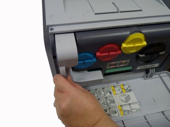 Image 1/1: Make sure to keep waste toner container upright to avoid spillage.