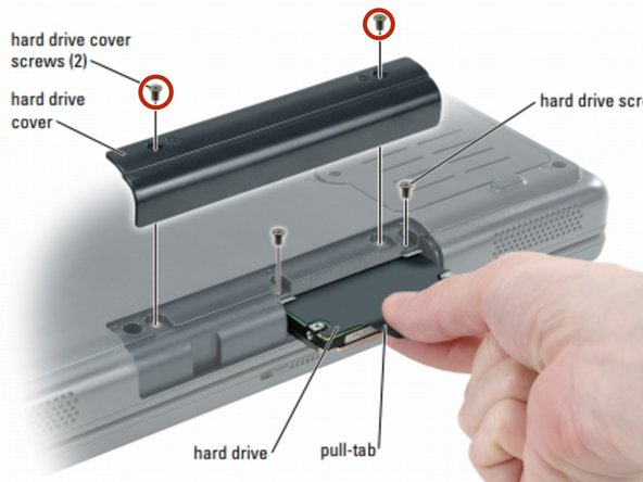 Turn the computer over and remove the hard drive cover screws, the cover, and the hard drive screws.