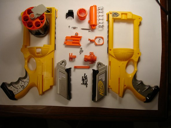 Here it is -- the whole gun taken apart.