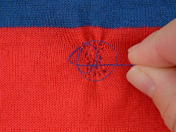 Pull the thread taut, closing the loop and creating a knot.