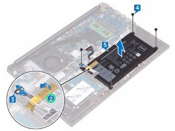 Peel the tape that secures the hard-drive cable to the battery.