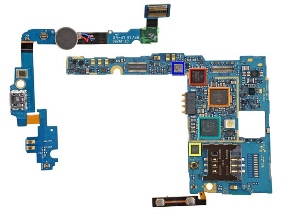 The primary internals of the Galaxy Nexus are held on two L-shaped boards. The small board on the left holds the vibrator motor and several connections. The large board on the right is the motherboard, which houses the volume buttons, SIM slot and the following chips: