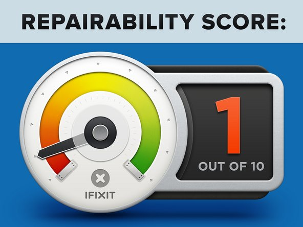 "The MacBook Pro 15"" with Touch Bar earns a 1 out of 10 on our repairability scale (10 is the easiest to repair):"