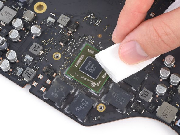 As before, use a lint-free cloth or coffee filter and the appropriate fluids to clean and prep the GPU surface.