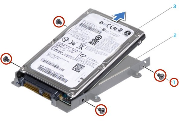 Replace the four screws that secure the hard drive bracket to the hard drive.