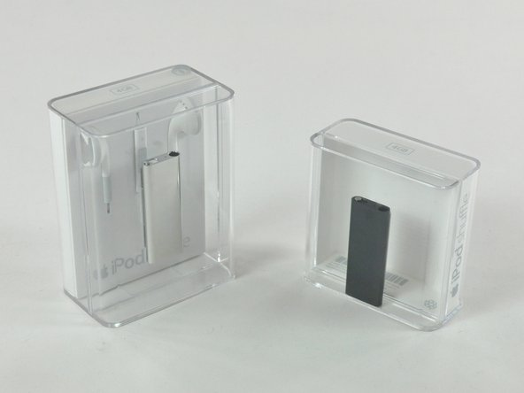 """Image 2/3: Contrary to Apple's typical claims of """"smaller packaging to save the environment,"""" this iPod's packaging is 65% larger than the original 3rd Gen shuffle."""