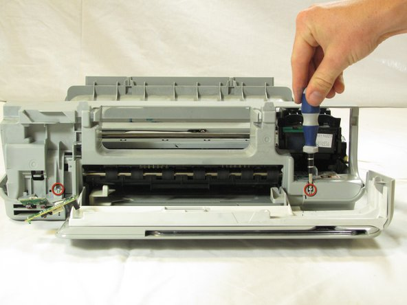 Image 1/2: Lift the support frame off of the printer body with both hands.