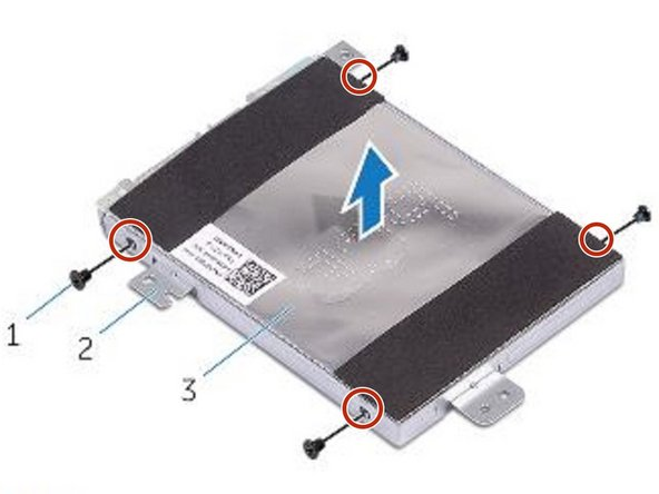 Align the screw holes on the NEW hard-drive bracket with the screw holes on the hard drive.