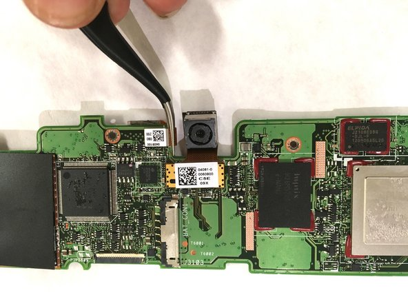 Use tweezers to pull out the gold flap connected to the front camera.